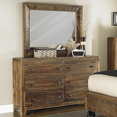 Magnussen Home  River Ridge Mirror and Six Drawer Dresser Combo