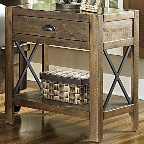 Magnussen Home  River Ridge Open Nightstand w/ Metal Accents