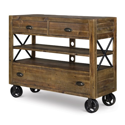 Magnussen Home  River Ridge Industrial Media Chest with Dark Metal Casters and Open Storage