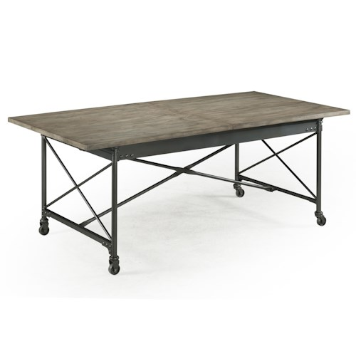 Magnussen Home  Walton Rustic Dining Table with Casters and Extension Leaf