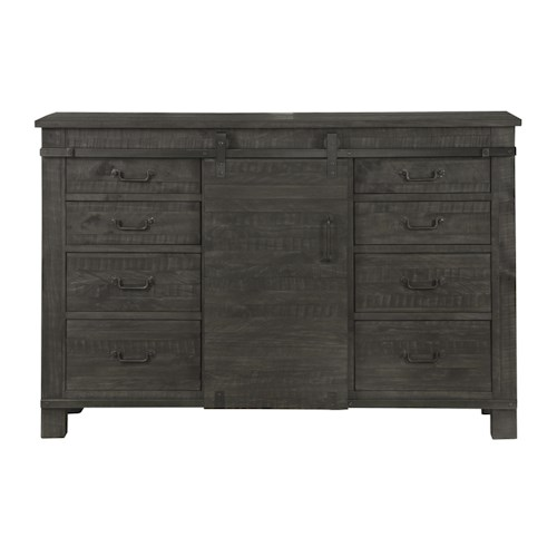 Magnussen Home Abington Weathered Gray Server with Eight Felt-Lined Drawers and Sliding Barn Door