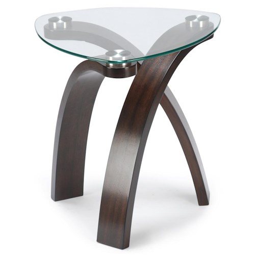 Belfort Select Allure End Table With Glass Top and Bent Wood Legs