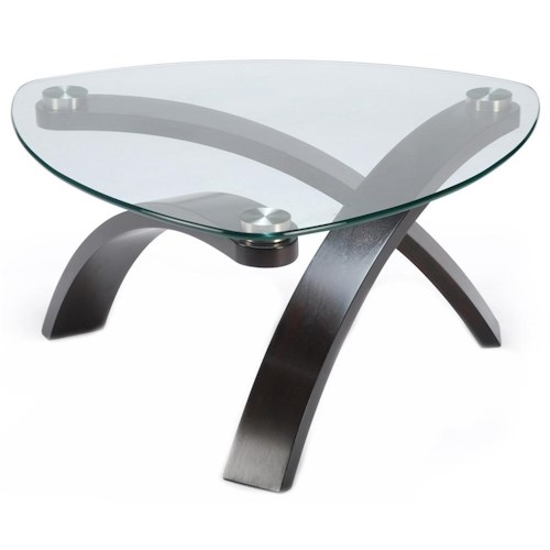 Morris Home Furnishings Allure Cocktail Table With Glass Top and Bent Wood Legs