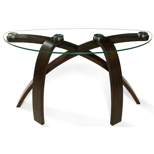 Magnussen Home Allure Sofa Table With Glass Top and Bent Wood Legs