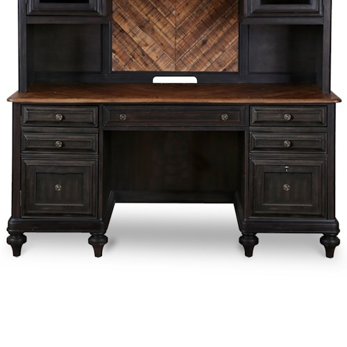 Magnussen Home Barnhardt Computer Credenza with Printer Drawer and File Storage