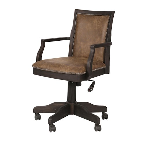 Magnussen Home Barnhardt Swivel Desk Chair with Bonded Leather Upholstery and Adjustable Height