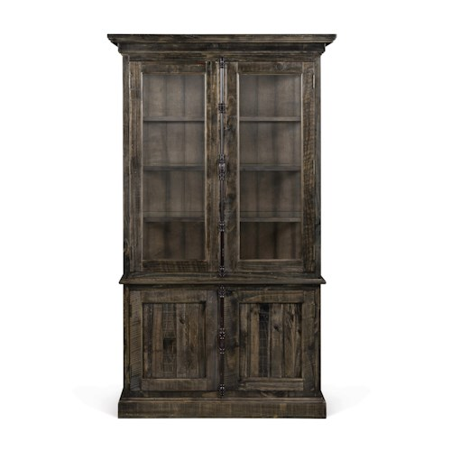 Magnussen Home Bellamy Transitional Weathered Gray China Cabinet with Adjustable Glass Shelves and Display Lighting