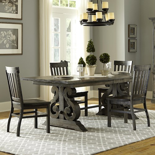 Magnussen Home Bellamy Transitional Five Piece Weathered Gray Dining Set