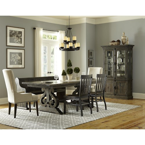 Magnussen Home Bellamy Dining Table, 2 Wood Chairs, 2 Upholstered Chairs & Bench