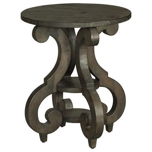 Magnussen Home Bellamy T2491 Round Accent End Table with Shelves