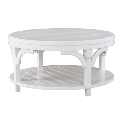 Magnussen Home Boathouse Round Cocktail Table with Hidden Casters