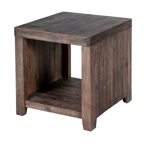 Magnussen Home Caitlyn Rustic Rectangular End Table with One Shelf