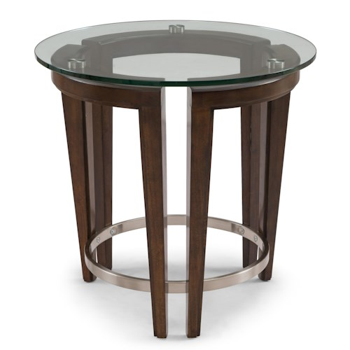 Belfort Select Carmen Contemporary Wood and Glass Round End Table