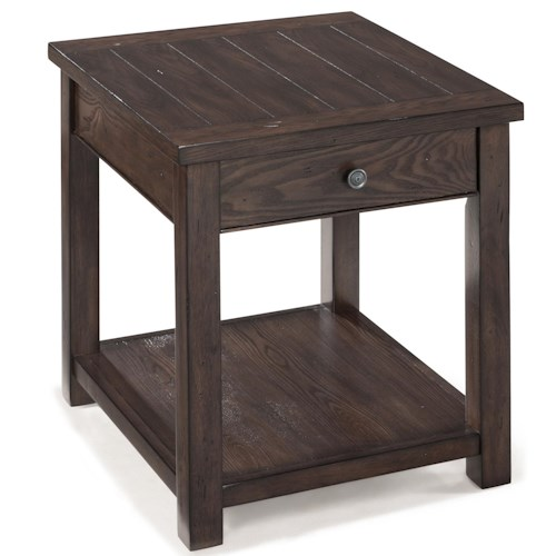 Magnussen Home Clayton Rectangular End Table With Drawer and Shelf