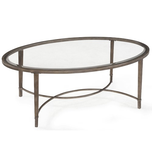 Magnussen Home Copia Metal and Glass Oval Cocktail Table
