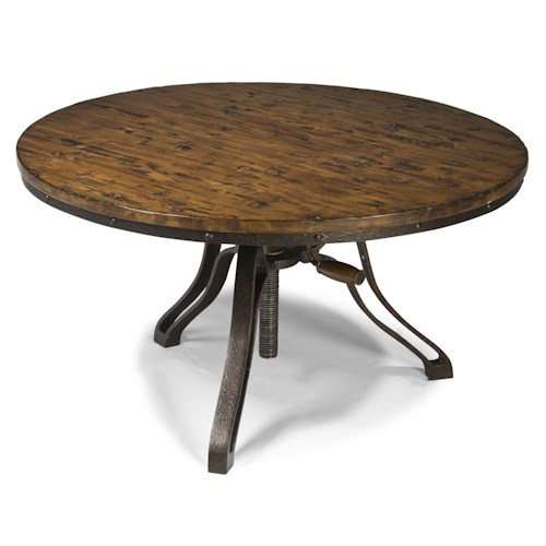 Magnussen Home Cranfill Industrial Style Round Cocktail Table with Adjustable Height