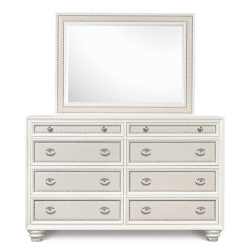 Magnussen Home Diamond Bedroom Eight Drawer Dresser and Landscape Mirror with Polyvinyl Upholstery and Nail Head Trim