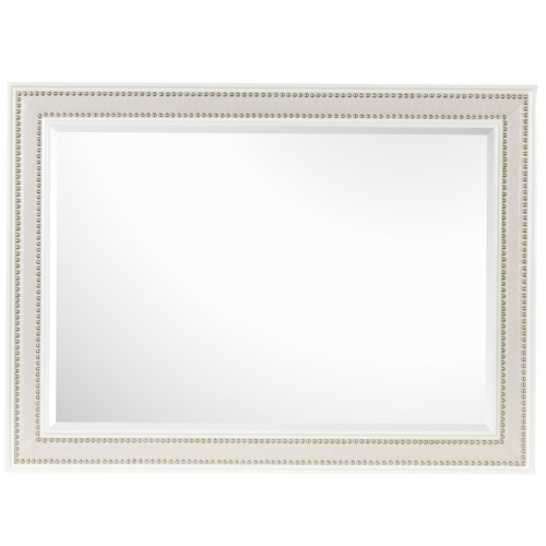 Magnussen Home Diamond Bedroom Beveled Landscape Mirror with Crocodile Embossed Frame and Chrome Nail Heads