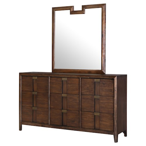 Belfort Select Echo Dresser with Felt-lined Top Drawers and Beveled Frame Mirror Set