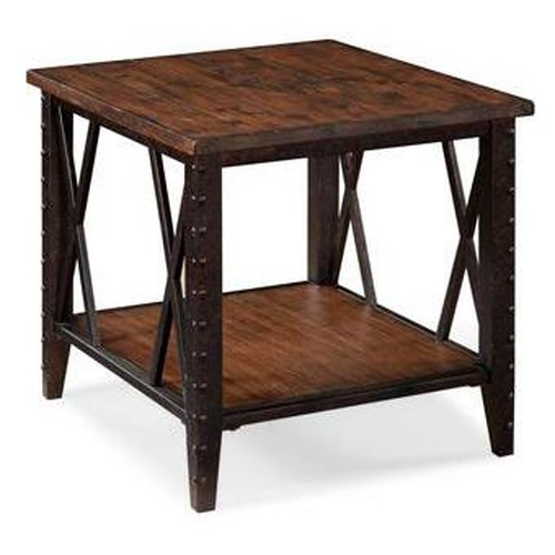 Magnussen Home Fleming Rectangular End Table with Metal Accents