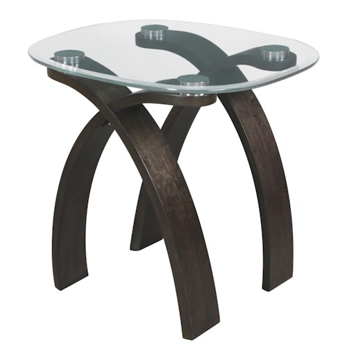 Magnussen Home Forum Contemporary Oval End Table with Glass Top