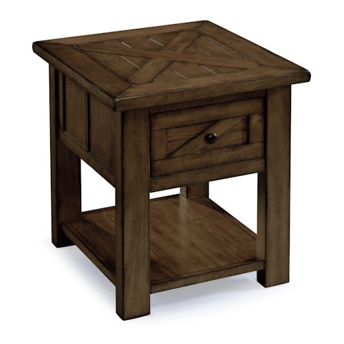 Magnussen Home Fraser Rustic Industrial End Table with One Drawer