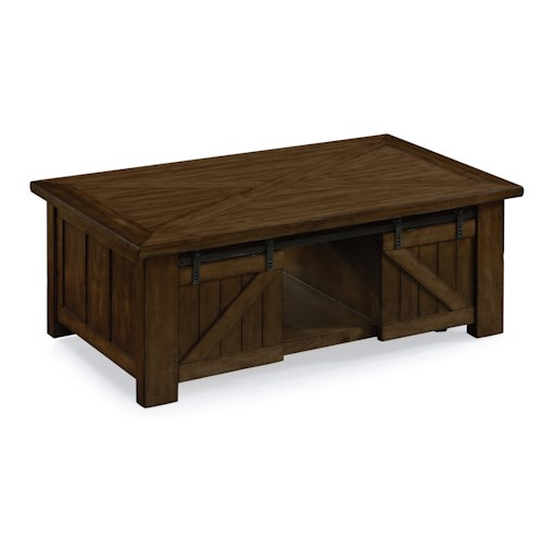 Magnussen Home Fraser Rustic Industrial Lift-top Cocktail Table with Casters