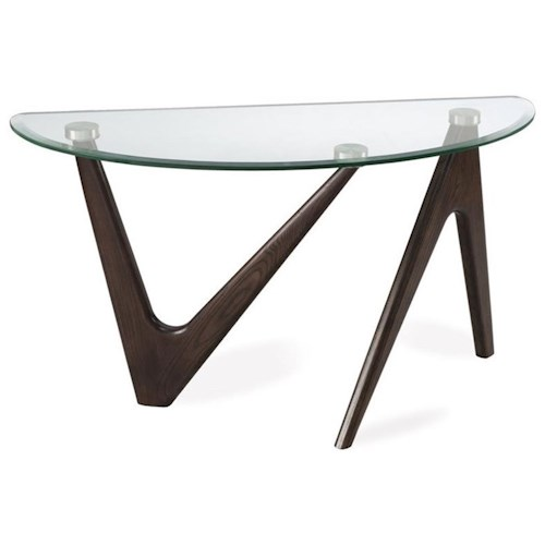 Magnussen Home Garvin Demilune Sofa Table with Glass Top