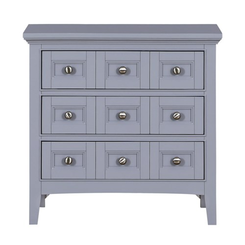 Magnussen Home Mason Vintage Gray Apothecary-Style Nightstand with Three Drawers and Touch Lighting