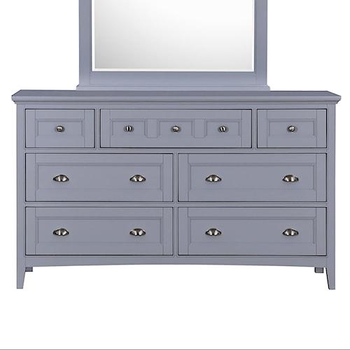 Magnussen Home Mason Vintage Gray Dresser with Drop-Front Media Drawer