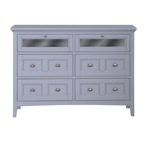 Magnussen Home Mason Vintage Gray Media Chest with Clear Glass Drop-Front Drawers