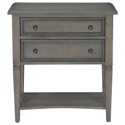 Belfort Select Magnolia Park Weathered Gray Table Nightstand with Touch Lighting Set-Up