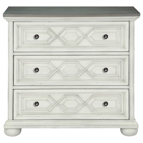 Belfort Select Magnolia Park Three Drawer Bachelor's Chest with Patterned Case Front and Weathered Oak Top