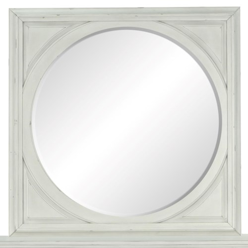 Belfort Select Magnolia Park Round Mirror with Square Crown-Moulded Frame