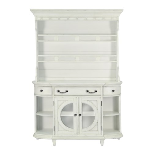 Belfort Select Magnolia Park Cottage Coastal Buffet and Hutch with Silverware Storage