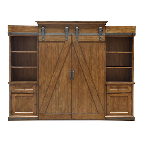 Magnussen Home Harper Farm Country Industrial Entertainment Wall with Sliding Barn Doors