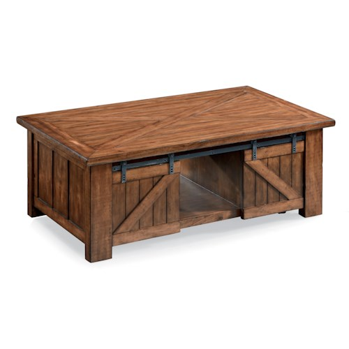 Magnussen Home Harper Farm Country Industrial Rectangular Lift Top Cocktail Table with Casters and Sliding Barn Door Hardware