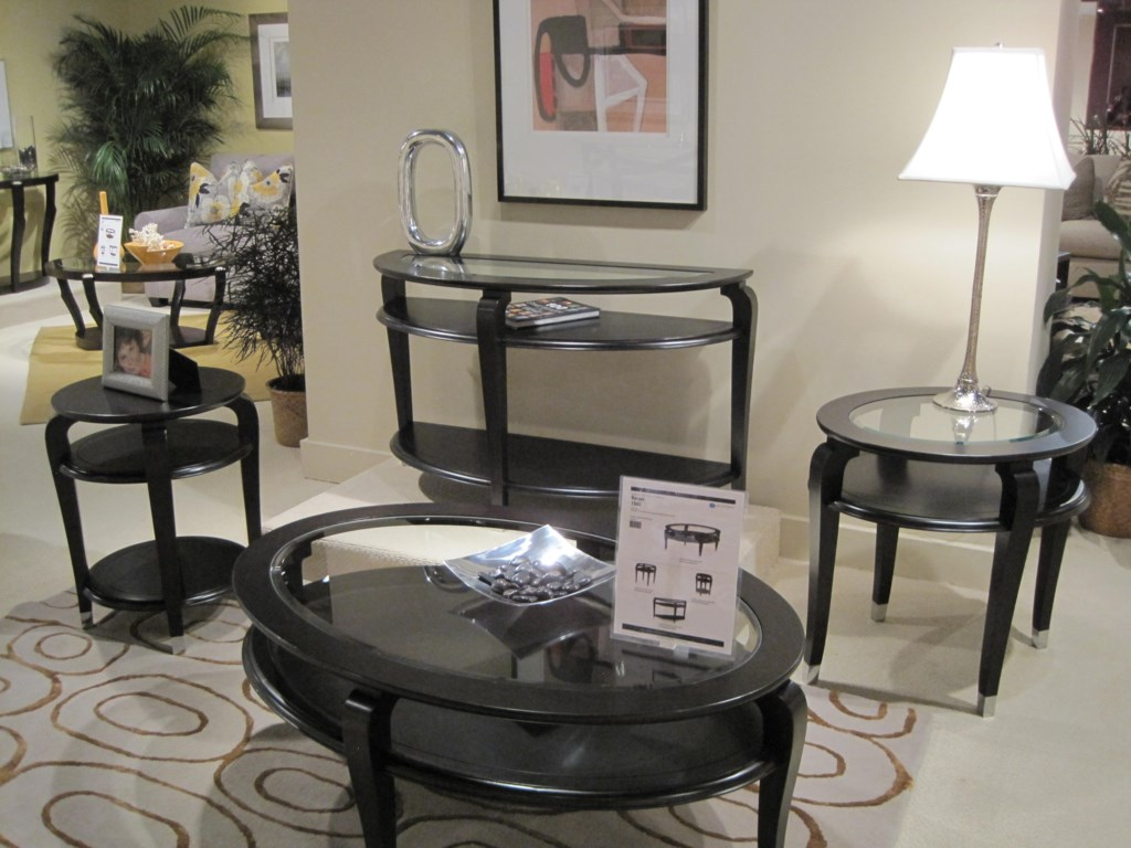 Shown with Oval Cocktail Table, Demilune Sofa Table and Round Accent Table