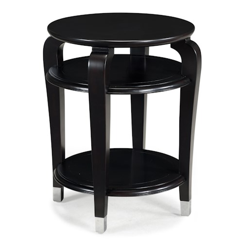 Magnussen Home Harper Round Accent Table with 2 Shelves