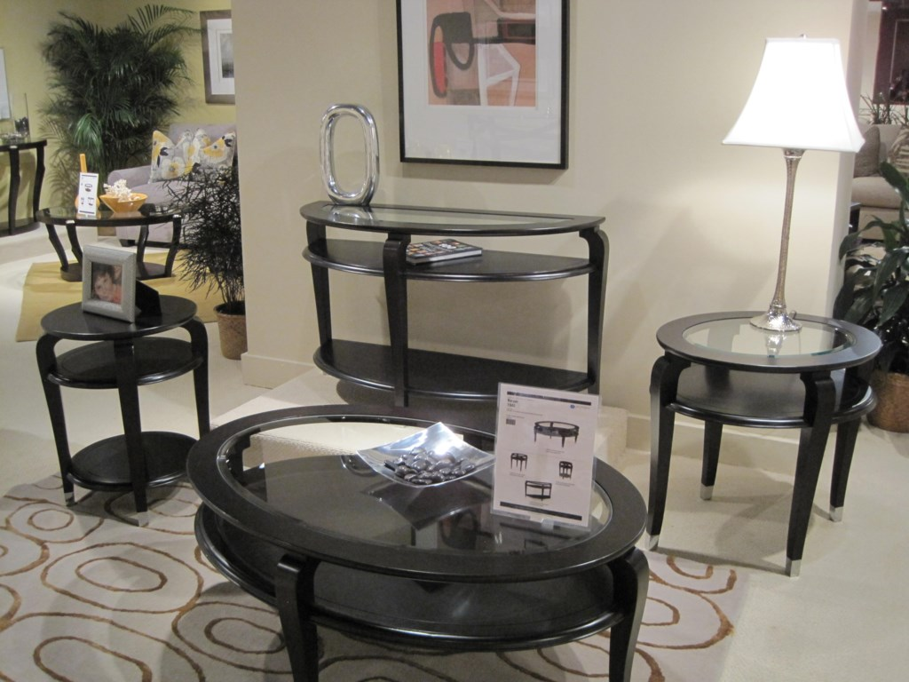 Shown with Oval Cocktail Table, Oval End Table and Demilune Sofa Table