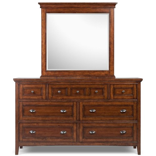Magnussen Home Harrison Double Dresser With 7 Drawers and Drop Down Front On Top Center and Beveled Landscape Mirror