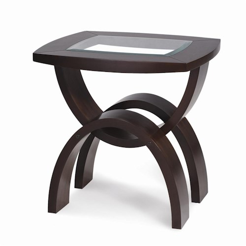 Magnussen Home Helix Rectangular End Table with Inset Glass Top