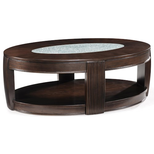 Magnussen Home Ino Oval Coffee Table w/ Glass Inset