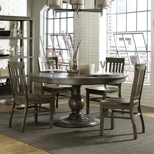 Belfort Select Karlin 5 Piece Round Table and Chair Set