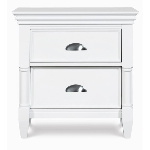 Magnussen Home Kasey  2-Drawer Nightstand with Brushed Nickel Drawer Pulls