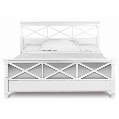 Magnussen Home Kasey  King Panel Bed with White Finish & Open Fretwork