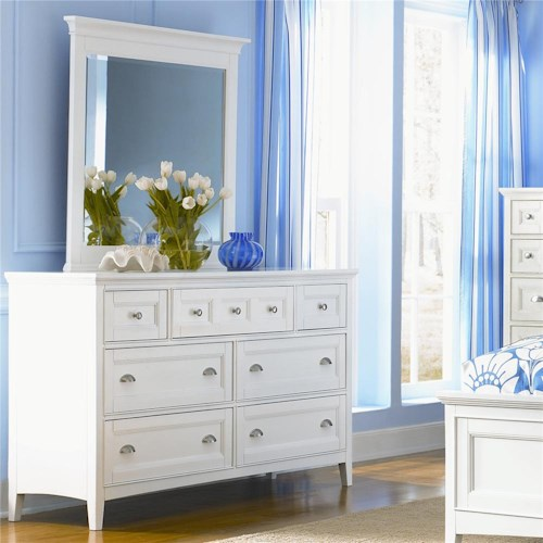 Belfort Select Kentwood Double Dresser With 7 Drawers and Drop Down Front On Top Center and Beveled Landscape Mirror