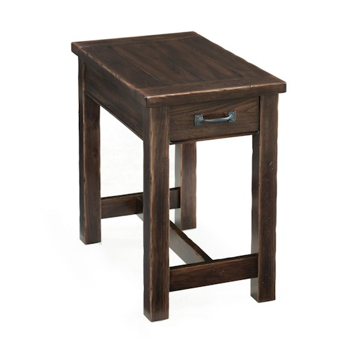 Magnussen Home Kinderton Rustic Rectangular Chairside Table with Drawer