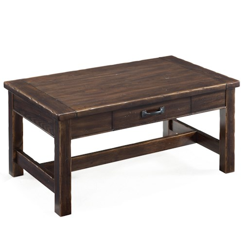 Magnussen Home Kinderton Large Rustic Rectangular Cocktail Table with Drawer