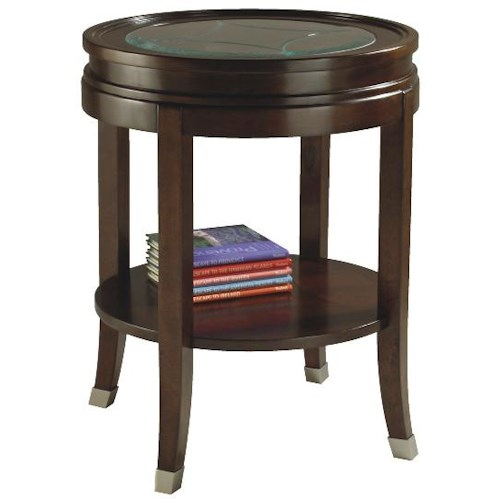Magnussen Home Lakefield Round End Table with Etched Glass Top and One Shelf